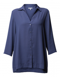 Marina Slate Blue Draped Button Down Blouse