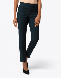 Ecru - Madison Forest Green Cotton Power Stretch Pant
