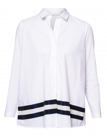 White Button Down Shirt with Navy Taffeta Trim