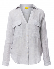 Jeni Blue and White Striped Linen Button Down Shirt
