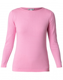 Rose Pink Pima Cotton Boatneck Sweater