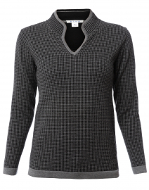 Black and Grey Houndstooth Cotton Sweater