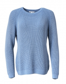 Ocean Blue Ribbed Cotton Sweater
