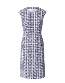 Navy and White Printed Stretch Cotton Dress