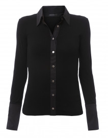 Black Jersey Button Down Shirt