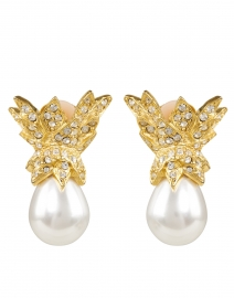 White Pear Pearl with Gold Crystal Crown Clip-On Earring