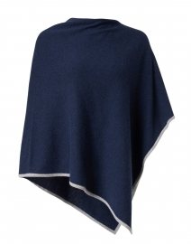 Navy and Sterling Grey Cashmere Poncho