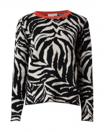 Black and White Animal Intarsia Cashmere Sweater