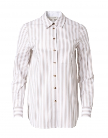 Ruxton White and Taupe Stripe Stretch Cotton Shirt
