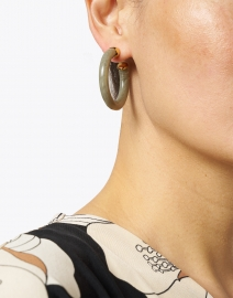 Gas Bijoux - Creole Gray Resin Hoop Earring