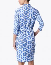 Gretchen Scott - Blue and White Gate Printed Twist Front Dress