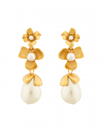 Gold Pearl Flower Drop Earrings