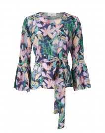 Pia Navy and Soft Pink Floral Print Silk Crepe Top