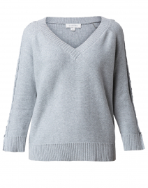 Pale Grey Cotton Cable Sleeve Sweater