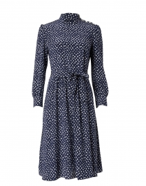 Caroline Navy and White Polka Dot Printed Crepe Dress