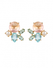 Pearl and Multicolor Crystals Gold Stud Earrings