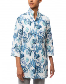 Connie Roberson - Rita Blue Seashell Printed Linen Jacket