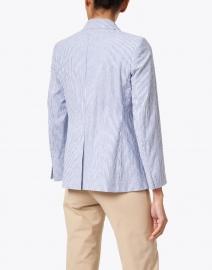 Weekend Max Mara - Pepli Blue and White Striped Stretch Cotton Linen Blazer