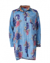 Ube Sky Blue and Pink Floral Cotton Shirt