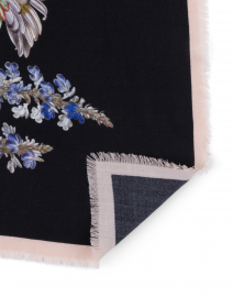 St. Piece - Keira Black Floral Wool Cashmere Scarf