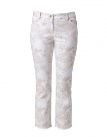 Beige and White Etched Floral Crop Jean