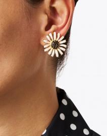 Kenneth Jay Lane - White Enamel Stone Center Daisy Clip-On Earring