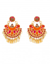 Coral Multicolored Enamel and Crystal Clip On Earrings