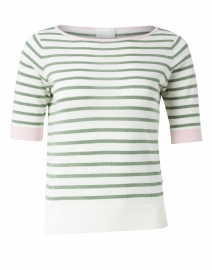 Green and Ivory Stripe Cotton Linen Sweater