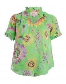 Ebisu Green Sunflower Printed Cotton Top