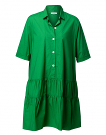 Green Stretch Cotton Shirt Dress