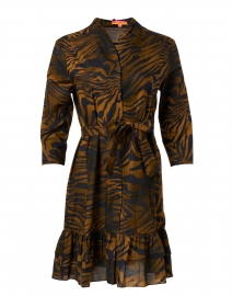 Patricia Black and Gold Animal Print Cotton Shirt Dress