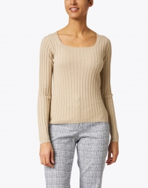 Allude - Beige Ribbed Cotton and Silk Top