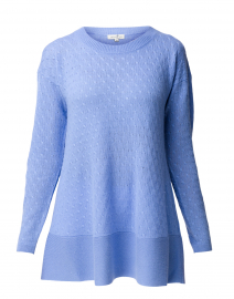 St. Tropez French Blue Cable Knit Cashmere Sweater