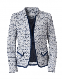 Navy and White Tweed Notched Jacket