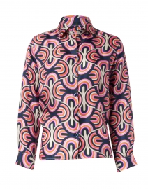 Isabella Pink Multi Geo Print Silk Shirt