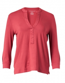 Dusty Coral Stretch Henley Top