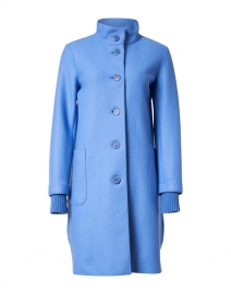Blue Wool Coat with Cable Knit Back