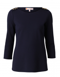 Lyndsey Navy Ponte Top with Shoulder Buttons