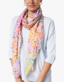 Kinross - Multicolored French Garden Print Silk Cashmere Scarf