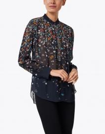 Megan Park - Navy and Multi Floral Chiffon Blouse