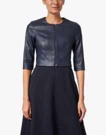 Susan Bender - Navy Stretch Leather Cropped Jacket