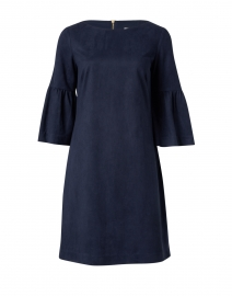Navy Faux Suede Flutter Sleeve Dress