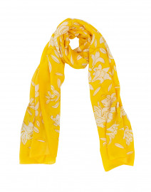 Yellow Lily Printed Silk Scarf