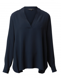 Brando Navy Silk Blouse