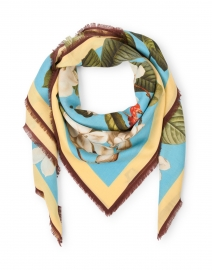 Oksana Blue Floral Wool and Cashmere Scarf