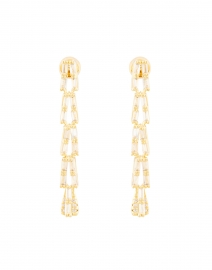 Gold Draped Crystal Baguette Earrings