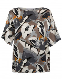 Grey and Orange Printed Silk Top