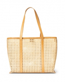 Margot Natural Rattan and Caramel Leather Tote