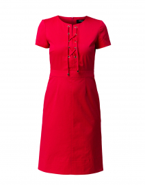 Hot Pink Stretch Cotton Tie Front Dress