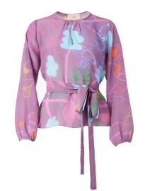 Pauline Miroco Lavender Print Silk Crepe Top